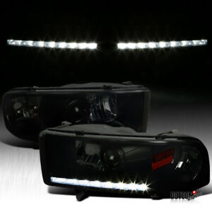 Black Smoke 1994 2001 Dodge Ram 1500 2500 3500 Led Drl Projector Headlights Pair