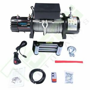 12000lbs Electric Winch 12v Steel Cable Truck Trailer Towing Off Road 4wd New