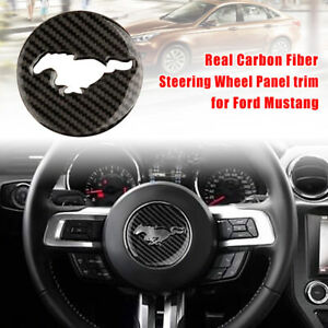 Real Carbon Fiber Steering Wheel Panel Trim Cover Decor For Ford Mustang 2015 17