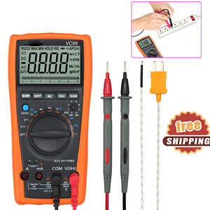 Digital Lcd Vc99 Multimeter Tester Auto Ranging Ohm Ac Dc Voltmeter Ammeter New