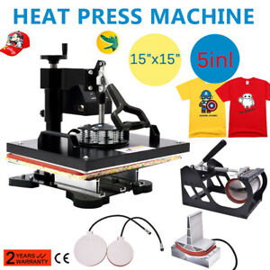 15 x15 Heat Press Transfer Machine 5in1 Combo Sublimation Swing Away Usa