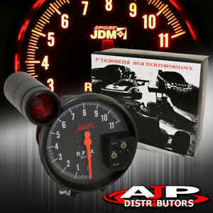 5 Black Face Tachometer 11k Rpm Tach Gauge With Red Shift Light All Scion