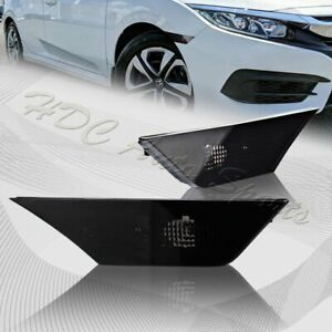 For 2016 2020 Honda Civic Smoke Front Bumper Reflector Side Marker Lights Lamps