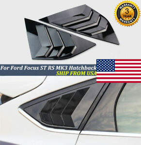 Pair For Ford Focus St Rs Mk3 Hatchback Glossy Black Window Side Louvers Vent Us