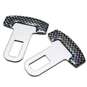 2x Car Safety Seat Belt Buckle Alarm Stopper Clip Clamp Carbon Fiber Univ