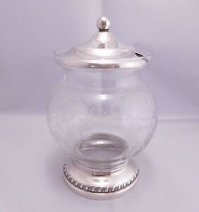 Super Fancy Antique Sheffield Silver Co Sterling Silver Glass Jelly Floral Jar