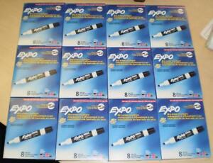 1 Lot Of 12 Expo Low odor Dry Erase Markers Chisel Tip Ast Colors 8 count 96