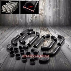2 5 T 2 Black Universal 12pcs Turbo Intercooler Pipe Silicone Hose T Clamp Set