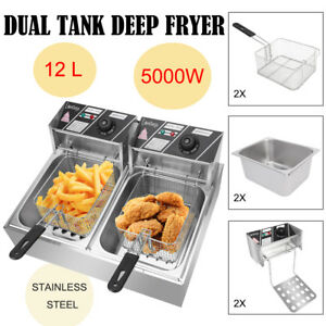 5kw 12 7qt Electric Deep Fryer Dual Tank Frying Cooking Machine Commercial 12l