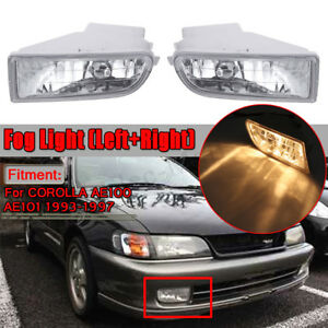 Pair Front Bumper Fog Lights Lamps For Toyota Corolla Ae100 Ae101 1993 1997