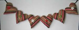 27 Red Green Stripes Heart Pillow Garland Christmas Holiday Handmade Stars