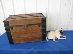 Vintage Steamer Trunk Large 30 Wooden Chest Antique Rustic Coffee Table Decor