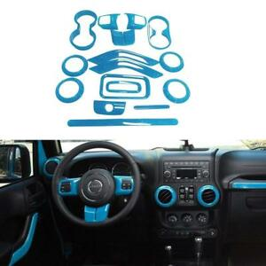 16pcs set Light Blue Interior Decoration Covers Trim For Jeep Wrangler Jk 11 17
