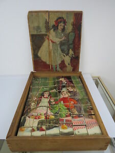 Antique Victorian Lithograph Wood Block Puzzle Lovely Scenes Orig Box