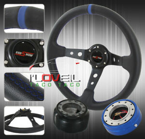 350mm Deep Dished Steering Wheel Blue Thin Quick Release Hub Adapter horn