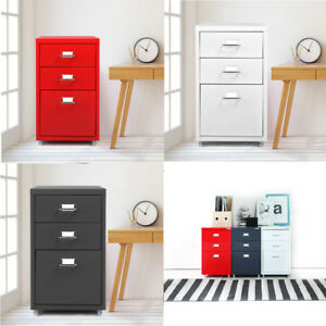 Ikayaa Metal Drawer Filing Cabinet Detachable Mobile W 3 Drawers 4 Casters D2l8