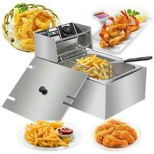 2500w Electric Deep Fryer Commercial Tabletop Restaurant Fry Basket 6 3 Qt Us