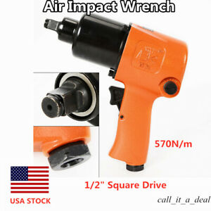 Air Impact Wrench 1 2 Square Drive Twin Hammer 850ft Lb Short Shank Lightweight