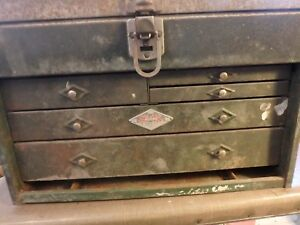 Vintage S k Machinists Tool Box 5 Drawer With Front Cover Top Tray