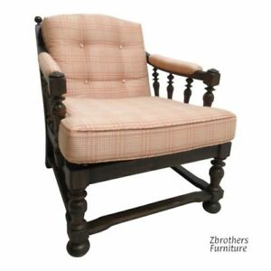 Ethan Allen Fireside Lounge Chair Living Room Charter Oak Jacobean B