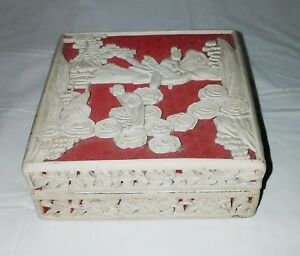 Antique Chinese Cinnabar White Lacquer Ware Box