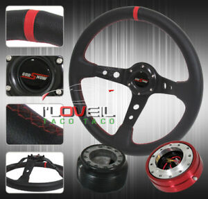 350mm Steering Wheel Removable Quick Release Adapter Hub Jdm Horn Button