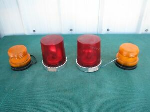 Pair Of Vintage Red Federal Signal Vitalite Model 121a B1 Beacon 12 Vdc Amber
