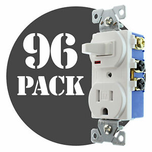 Hubbell Rc108wtrz Combo Toggle Switch Receptacle Tr 15a 120v White 96 pk