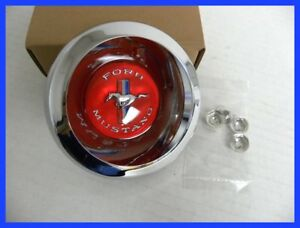 1967 70 Mustang New Repro 48 Spoke Wire Hubcap Running Pony W Red Center Cap 4