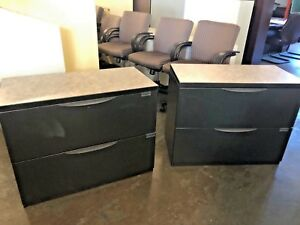 2 Drawer Lateral Size File Cabinet W Top By Haworth Office Furn W lock