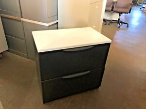 2 Drawer Lateral Size File Cabinet W white Laminate Top By Haworth Office Furn