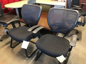 Lot Of 2 Guest side Chairs W Mesh Back sold As is
