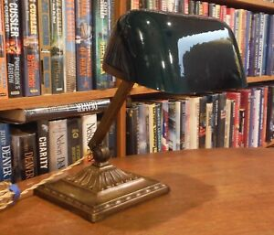 Antique Emeralite Desk Lamp Green Cased Shade 8734
