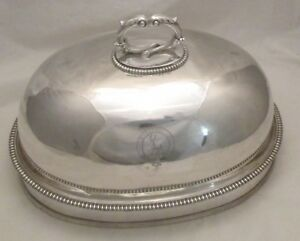 A Fine Old Sheffield Plate Meat Dome By Garrards Of London C1840 Crested