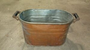 Vintage Copper Wash Tub 21 X 13 Wood Handles No Lid