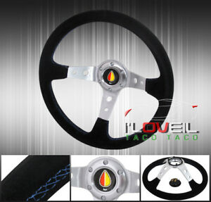 350mm Suede Leather Blue Stitching Steering Wheel Jdm Leaf Orange Yellow Horn