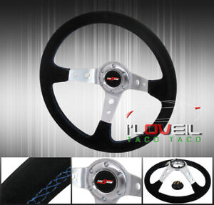 350mm Black Suede Leather Blue Stitching Steering Wheel 6 bolt Hole Jdm Button