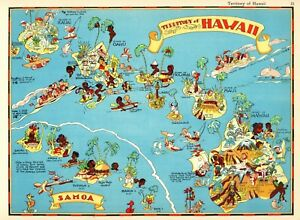 1938 Rare Antique Hawaii State Map Ruth Taylor Hawaii Picture Map Rtw 6045