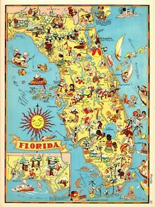 1938 Rare Antique Florida State Map Ruth Taylor Florida Picture Map Rtw 6047