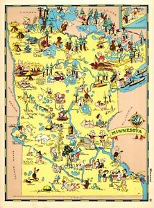 1938 Rare Antique Minnesota State Map Ruth Taylor Minnesota Picture Map Rtw 6049