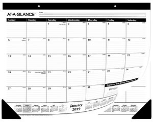 At a glance Desk Pad Calendar 2019 Monthly Ruled 21 X 3 4 X 17 50 Units Sale
