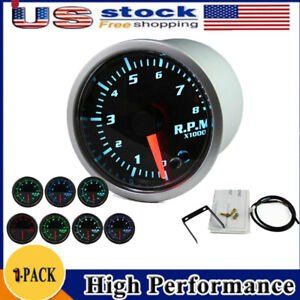 2 Universal Car Tachometer Tacho Gauge Meter Led 0 8000 Rpm 7color Led Display