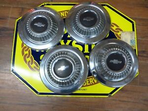 1966 Chevy Ii Nova 100 Dog Dish Hubcaps Set 4 Black Trim Driver Quality Inv 37