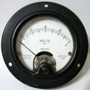 Weston 0 1 Volts Ac A c Model 301 Round Black Rectifier Type Panel Meter