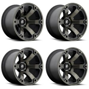 Set 4 22 Fuel Beast D564 Black Machined Dark Tint Wheels 22x12 8x170 44mm