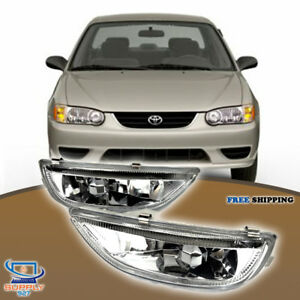 Fit For 2001 2002 Toyota Corolla Fog Lights Chrome Housing Clear Lens Set