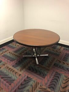 Round Conference Table W Dark Cherry Color Laminate Top Chrome Base 48 d