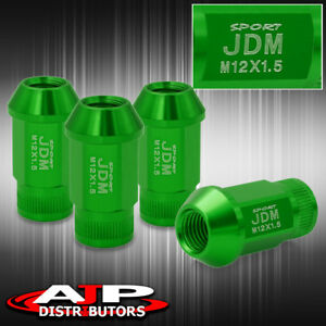 12x1 5mm Thread Pitch Universal Lug Nut Jdm Sport Green Open Ended Upgrade Set