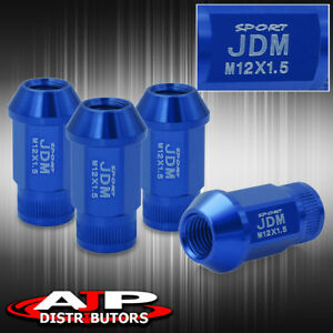12x1 5mm Thread Pitch Universal Lug Nut Jdm Sport Blue Open Ended Upgrade Set