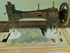 Antique Vintage White Family Rotary Series Sewing Machine Fr 3119553 W Pedal